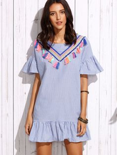 Blue Vertical Striped Ruffle Dress With Embroidered Tape Detail