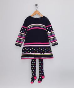 Take a look at this Navy Polka Dot & Stripe Dress & Tights - Infant & Toddler by à petite échelle on #zulily today!