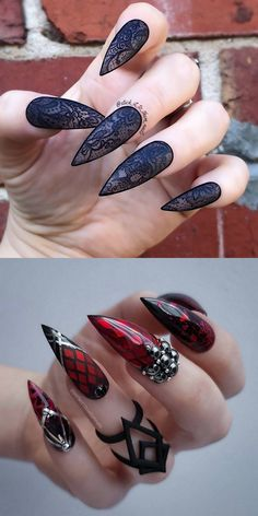 22 Wicked Long Black Nails Cool Girls Should Have a Try! - Page 4 of 6 Longer is cooler. Wickedly longer is much cooler. Long nails is always the hottest nail among the popular. And long black nails is the top 1 best color for cool girls. Goth Nails, Bling Nails, Diy Nails, Witchy Nails, Lace Nails, Best Acrylic Nails, Acrylic Nail Designs, Nail Art Designs, Nails Design