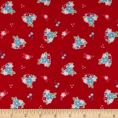 Riley Blake Country Girl Flannel Country Floral Red from @fabricdotcom (backing for Bliss Quilt?) Designed by Tasha Noel for Riley Blake Designs, this single napped (brushed on face side only) flannel is perfect for quilting, craft projects, apparel and home décor accents. Colors include aqua, lime, white, pink, navy and red.