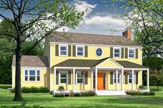 Photoshop remodel of a two-story, Neo-Colonial house; flower boxes instead of railings, bump out for porch swing House Design, New Homes, Colonial House Exteriors, House Siding, Colonial Style, Front Porch Addition, Yellow Houses, House Front Porch, Colonial House