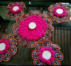 Diya Decoration Ideas, Diy Diwali Decorations, Ornament Wreath, Ornaments, Diwali Diy, T Lights, Almond, Wreaths, Home Decor