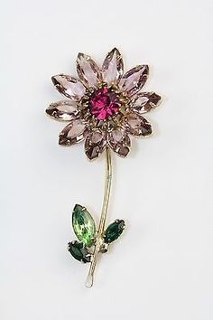 Vintage Signed Weiss Purple Pink Rhinestone Flower Brooch.