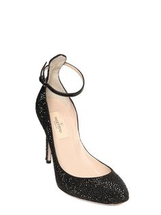 VALENTINO - 100MM CALF SUEDE CRYSTALS PUMPS - LUISAVIAROMA - LUXURY SHOPPING WORLDWIDE SHIPPING - FLORENCE