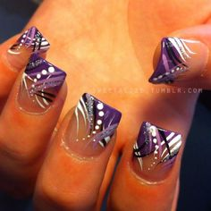 Nails done by another nail tech and artwork by me. Abstract on acrylic nails. View on Instagram here.