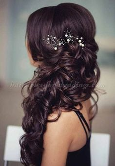 half up wedding updo Side Swept Hairstyles, Prom Hairstyles For Long Hair, Wedding Hairstyles For Long Hair, Wedding Hair And Makeup, Hair Wedding, Bridesmaid Hairstyles, Long Haircuts, Easy Hairstyles, Hairstyles 2018