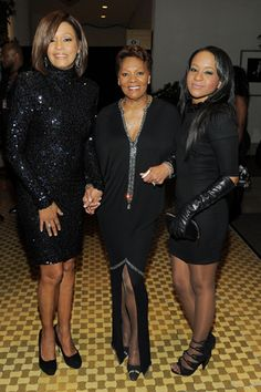 Singer Whitney Houston, Singer Dionne Warwick and Bobbi Kristina Brown arrive at the 2011 Pre-GRAMMY Gala and Salute To Industry Icons Honoring David Geffen at Beverly Hilton on Feb. 12, 2011, in Beverly Hills, Calif.