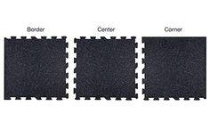 IncStores 8mm Strong Rubber Tiles (Black, 4 Border Tiles) Interlocking Rubber Gym Mats For Home Gym Flooring, Exercise Mats, Equipment Mats & Fitness Room Floors