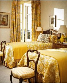 Bedroom Colors, Bedroom Decor, Decorating Bedrooms, Yellow Bedspread, Interior Walls, Interior Design, House Of Turquoise, Interior Stylist, Drawing Room