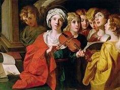 St Cecilia with a Choir, Domenichino (Domenico Zampieri) (1581-1641), italian ... Cluster of Cecilias