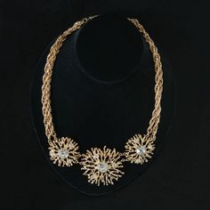 """Bold, dramatic glamor - just what you expect from Kenneth Jay Lane! His """"Regal Riches"""" collection for Avon is just that, both regal and rich looking. Three polished goldtone starbursts sparkle with hi"""