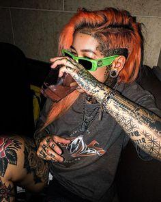 Ryan Ashley Tattoo, Punk Rock Fashion, Tattoed Girls, Stretched Ears, Health And Beauty Tips, Rock Style, Dreads, Girl Tattoos, Beauty Hacks