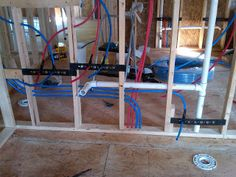 plumbing pex water lines install for toilet & sinks & drain pipe (photo) Plumbing Drains, Pex Plumbing, Bathroom Plumbing, Rooter Plumbing, Plumbing Fixtures, Basement Bathroom, Small Bathroom, Bathrooms, Plumbing Installation
