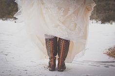 Snowy Winter Wedding Inspiration   Montana  Kelly Spurlock