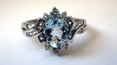 Antique Oval Aquamarine & White Topaz Gemstone by My3LadiesJewelry, $249.99