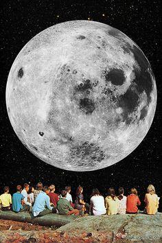 Full Moon Gazers Framed Art Print by Eugenia Loli - Vector Black - Surreal Collage, Surreal Art, Collage Art, Collages, Eugenia Loli, Creepy Pictures, Moon Art, Psychedelic Art, Aesthetic Art