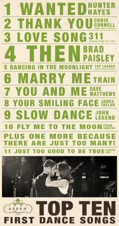 top ten first dance songs. First trime I've seen this version of first dance songs! Wanted is actually the song we chose for our first dance! Marry Me Train, Marry You, Wedding Music, Our Wedding, Dream Wedding, Wedding Stuff, Wedding Recessional, Wedding Reception, Reception Ideas