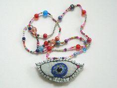 """Stoffketten - Statement Halskette """"Auge"""" - ein Designerstück von ticinese bei DaWanda"""