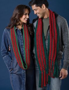Yarnspirations.com - Caron Her Infinity and His Fringed Christmas Cactus Scarves - Patterns    Yarnspirations