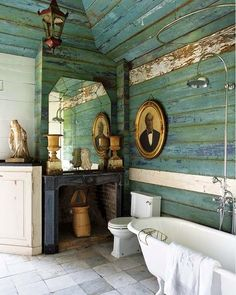 I love the weathered clapboard interior of this bathroom. The textured and weathered blues, the stone tiles, the vintage and architectural elements – all mixed with clean, white porcelain. Image courtesy of House of Turquoise. House Of Turquoise, Turquoise Walls, Vintage Turquoise, Vintage Green, Rustic Bathroom Wall Decor, Rustic Decor, Wood Bathroom, Rustic Walls, Bathroom Interior