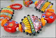 "MICHOU - Lampwork Beads - Knotted, handmade glass bead bracelet - ""Hot Chili"". $179.00, via Etsy."