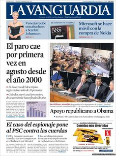 Los Titulares y Portadas de Noticias Destacadas Españolas del 4 de Septiembre de 2013 del Diario La Vanguardia ¿Que le pareció esta Portada de este Diario Español?