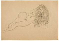 Gustav Klimt (1862 - 1918) - Reclining Nude (Lust),  1902  Black crayon on paper