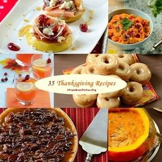 A list of 35 Thanksgiving recipes from breakfast to all courses of the main meal, and even leftovers.
