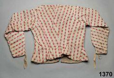 Common womans' jacket, circa 1780-1810, linen/cotton, from Blomskog, Värmland, Sweden. http://www.digitaltmuseum.se/things/trja/S-NM/NM.0001370?query=tr%C3%B6ja+kjol=24_by=_year=1700_context=1=2=57=37