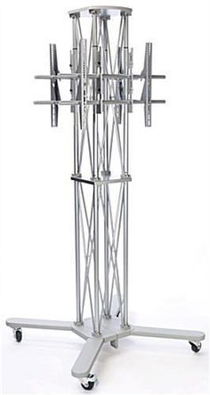 """Portable Truss TV Stand with 2 Mounts, Fits Monitors 60"""", Wheels Case - Silver 19718"""