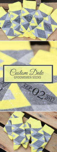 Looking for a way to customize your yellow and gray wedding? We are now customizing our most popular wedding colors with wedding dates, wedding text and monograms. Give your groomsmen in your wedding a gift they will never forget that will always remind them of your big wedding day: custom yellow groomsmen socks. Shop these yellow and gray custom monogram socks and more.
