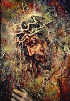 Jesus Suffering, Jesus Christ Painting, Jesus Drawings, Crucifixion Of Jesus, Pictures Of Jesus Christ, Jesus Face, Prophetic Art, Biblical Art, Jesus On The Cross