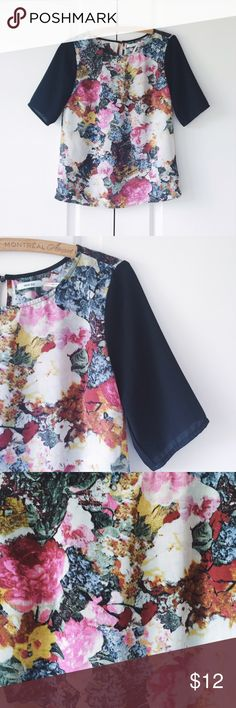 Urban Outfitters Kimchi Blue Floral Shirt Unique blouse in a floral print with solid sleeves. Machine wash cold. Like new condition. Urban Outfitters Tops