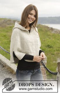 "Knitted DROPS poncho with hood and vent, worked top down in ""Alaska"". Size: S -XXXL ~ DROPS Design"