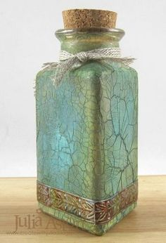 Altered Bottles using embossing and crackle paste from wendy vecchi