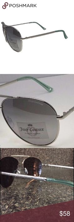 Juicy Couture Heritage Aviator Sunglassss These women's Juicy Couture sunglasses complete your style with a sleek touch. Aviator design in silver with mint colored accents. Adjustable nose pads.  Ultraviolet protection Metal. Case not included. Brand new never worn! Make me an offer! Juicy Couture Accessories Sunglasses