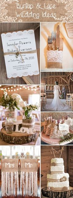rustic burlap and lace wedding ideas and wedding invitations
