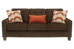 "The Verbena Queen Sofa Sleeper from Ashley Furniture HomeStore (AFHS.com). The sleek track arms and button tufted details of the ""Verbena-Chocolate"" upholstery collection perfectly captures the true essence of Metro Modern design."