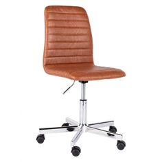 The Malpas brown faux leather upholstered office chair is a chic design with padding for extra comfort and chrome legs on castors.[br]Also available with grey fabric upholstery, the chair has a gas-lift mechanism that allows its height to be adjusted. Rattan Dining Chairs, Black Dining Chairs, Old Chairs, Vintage Chairs, Yellow Accent Chairs, Pink Chairs, Brown Leather Chairs, Pu Leather, Cute Desk Chair