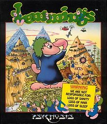 Lemmings video game box - Oh the hours of my life I lost to this game.