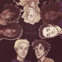 (Clockwise) Annabeth, Hazel, Frank, Percy, Jason, Piper, Leo