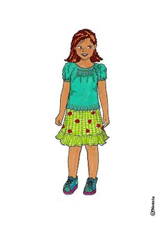 Karen`s Paper Dolls: Elisabeth Dressed to Print in Colours. Elisabeth klædt på til at printe i farver.