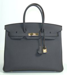 Hermes Etain Togo Leather 35cm Birkin with Gold Hardware