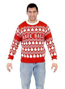 I Have Balls Ornament Pattern Adult Red Sweater Guirlande, Pull Moche,  Rouge, Une eca196dd5a85