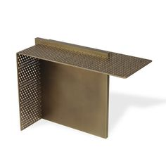 end table, Plateau perforated brass, light bronze patina, satin varnish. Base in brass, bronze patina clear, satin varnish