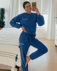 Our Swim Club Sweat Set looks put-together, feels cozy af. The perfect oversized crewneck and sweatpant fit for royalty in bold empire blue. Use PINTEREST10 at checkout for 10% off xx lounge wear, matching set, two piece, loungewear sets, at home style, cozy, lounge style, comfortable joppers, streetstyle, sweatpants, celebrity style, influencer aesthetic, women's fashion, cozy fashion, streetstyle, crewneck, joggers Cozy Fashion, Women's Fashion, Helen Owen, Joggers, Sweatpants, Swim Club, Matching Set, Easy Wear, Fleece Fabric