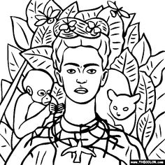 Frida Kahlo - Self Portrait  We have two of her paintings hanging over Natasha's art board and I thought it would be neat to print this out for her to color and hang under them.