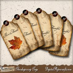 Thanksgiving Printable Tags, Table Decor, Digital Collage Sheet from DigitalPapercrafts