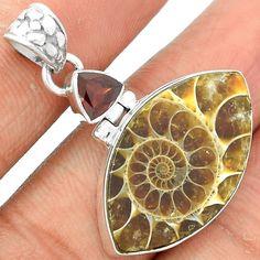 Fossil Ammonite & Garnet 925 Sterling Silver Pendant Jewelry SP153099 #XTREMEGEMS