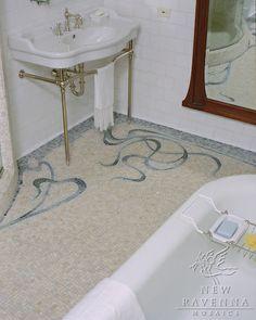 Art Nouveau bath floor in blues   New Ravenna Mosaics